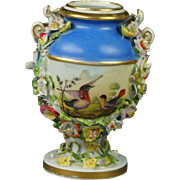 19th Century Regency Miniature Derby Porcelain Vase Birds Encrusted Flowers Circa 1825 After Richard Dodson
