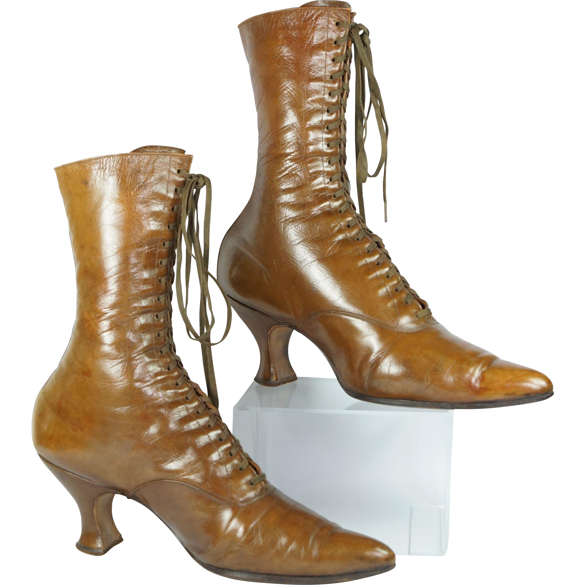 Antique Victorian High Top Leather Ladies Boots American Baird and Co Circa 1890 Great Condition