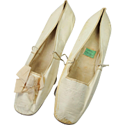 19th Century Ladies Shoes Slippers Cream Kid Leather New York Retailers Label Georgian Circa 1830s
