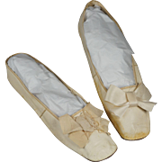 Antique Early 19th Century Shoes Cream Leather Slippers New York Retailers Label Georgian Circa 1825