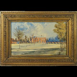 Antique Georgian Watercolor Painting English Country House English School Circa 1810