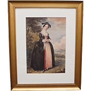 19th Century Watercolor Portrait Irish Actress Peg Woffington Shakespeare Merry Wives of Windsor Theatrical