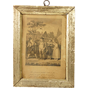 Antique Georgian Satirical Etching By Robert Cruikshank Lovely Miniature Pale Gold Frame Dated 1815
