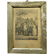 19th Century Georgian Engraving By Robert Cruikshank Lovely Miniature Pale Gold Frame Dated 1815