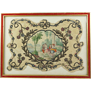 Antique Georgian Hand Held Face Screen Fan Hand Painted Silk Rococo Scene With Dog Jewelled Spangles Framed French Circa 1810 AF