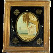 Antique Georgian Miniature Memorial Silkwork Embroidery Maritime Sailor's Farewell Signed Ann Ashby 1800 AF