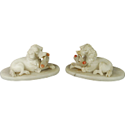 19th Century French Dog Pair Alabaster Poodles Circa 1890 Victorian AF