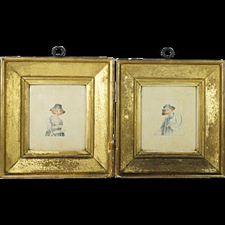 Antique Georgian Miniature Watercolor Pair Lemon Gilt Frame English Circa 1800