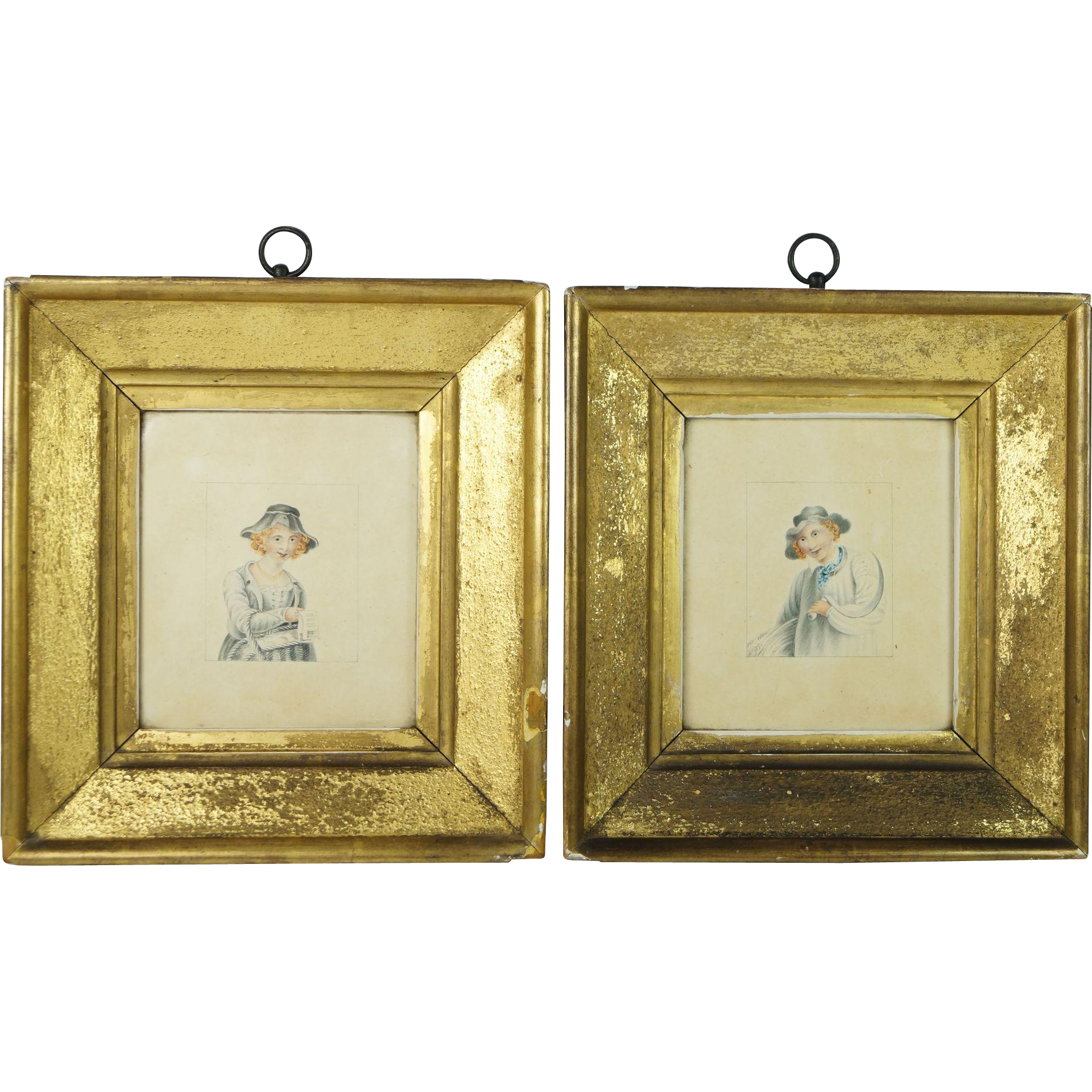 Georgian Miniature Watercolor Pair Lemon Gilt Frame English Circa 1800