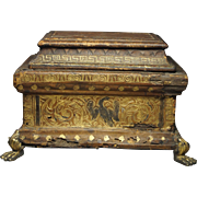 Renaissance 16th Century French Miniature Casket Censer Hand Warmer Gilt Tooled Leather Covering