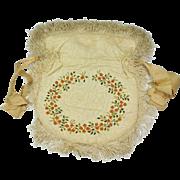 Antique Georgian Reticule Silk Embroidered Work Bag Purse English Circa 1800