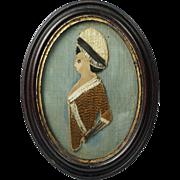 Antique Georgian Silkwork Embroidery Collage Cut Out Portrait Silhouette Georgian Folk Art Circa 1770