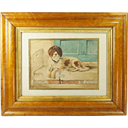 Antique Victorian Dog Watercolor Painting Signed Dated 1889