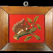 Antique Circa 1840 Needlework Squirrel Lovely Frame 19th Century Folk Art