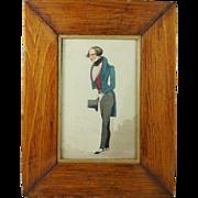 Antique 1830 Miniature Watercolor Portrait English Signed Dated Robert Johnson 1830