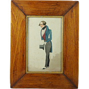 Antique 19th Century Miniature Watercolor Portrait English Signed Dated Robert Johnson 1830