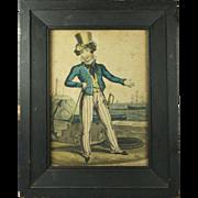 Antique Georgian Naive Hand Coloured Naval Satire Britain's Pride Orlando Hodgson Circa 1820 Nautical Maritime Interest