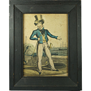 Georgian Naive Hand Colored Engraving Naval Satire Britain's Pride Orlando Hodgson Circa 1820 Sailor's Folk Art