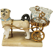 Antique Palais Royal Pug Dog Cart Thimble Holder Rare Circa 1850