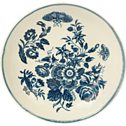 Antique Worcester Blue and White Porcelain Plate Three Flowers Pattern English Circa 1770 Georgian