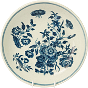 Antique Worcester Blue and White Porcelain Plate Miniature Toy Size Three Flowers Pattern English Circa 1770 Georgian
