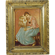 Antique French Small Oil on Board Painting After Greuze The Pet Canary Lovely Frame Circa 1890