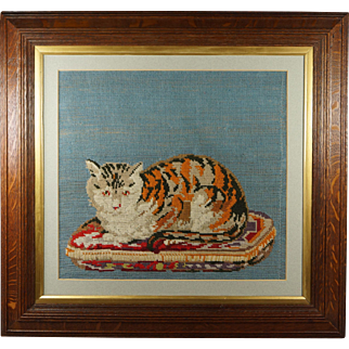 19th Century Victorian Cat Woolwork Tapestry English Circa 1890 Wonderful Oak Frame