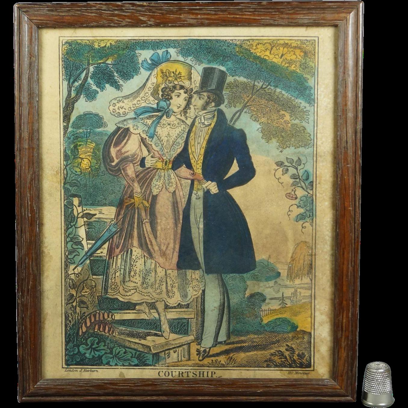 Antique Engraving Courtship John Fairburn Circa 1830 Georgian