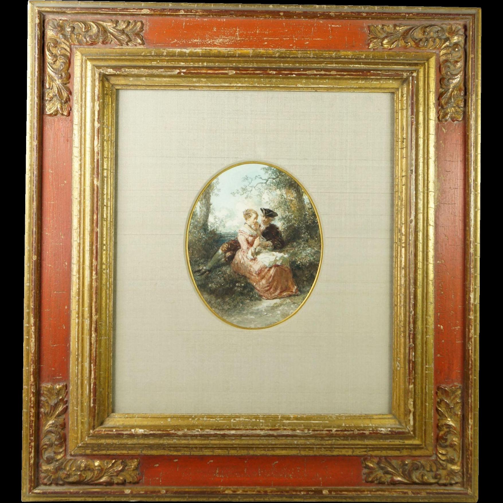 Frederik Carel Ten Kate (1822-1891) Romantic Original Watercolor Signed And Dated 1856