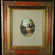 Antique 19th Century Dutch Watercolor Romantic Scene by Herman Frederik Carel Ten Kate Quality Baroque Style Frame