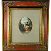 Antique 19th Century Dutch Watercolor Romantic Scene by Herman Frederik Carel Ten Kate Quality Baroque Style Frame