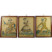 Antique 19th Century Theatrical Engraving x Three Circa 1850 Harlequin Clown Columbine Commedia Del Arte