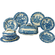 Antique English Doll's Part Dinner Set Spode Blue And White Transferware Chinoiserie Design Georgian Era Circa 1810