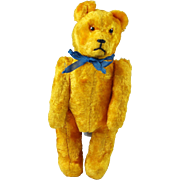 "Good Vintage Miniature German Teddy 6"" Gold Silk Mohair Circa 1940s"