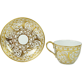 Antique Georgian Porcelain Cup And Saucer Gilt Bute Shape Circa 1810
