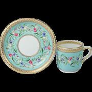 Antique Minton Floral Porcelain Tea Cup And Saucer Superb English Quality Circa 1865