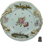 Antique 18th Century Faience Porcelain Plate Hochst Floral Insects Deutsche Blumen German Circa 1750