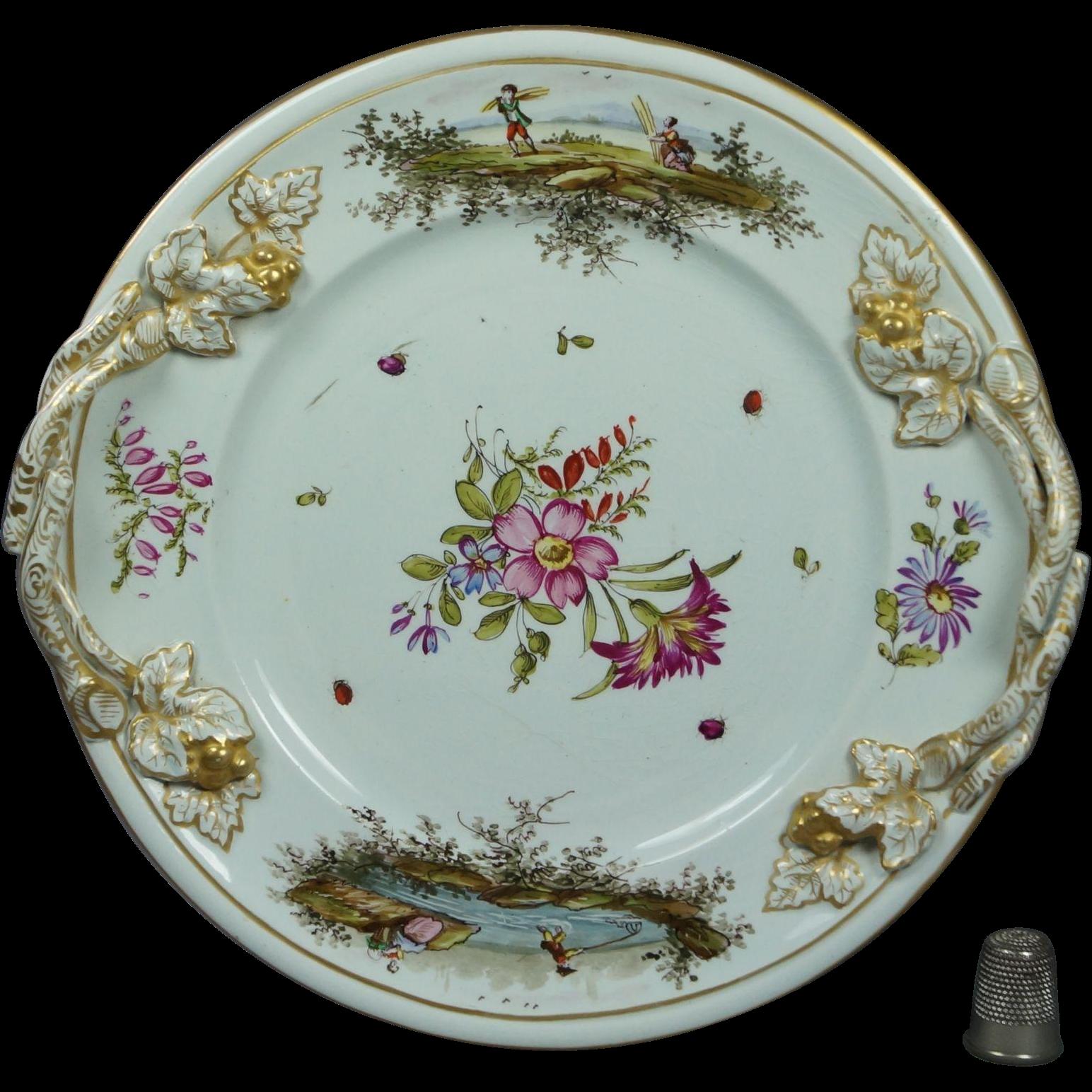 Antique 18th Century Faience Porcelain Plate Hochst Floral Insects Deutsche Blumen German Circa 1750