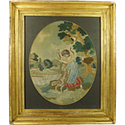 Antique English Silkwork Embroidery Dog and Child After Sir Joshua Reynolds Circa 1790 Georgian
