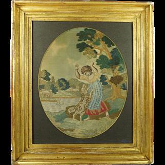 Georgian Silkwork Embroidery Child and Dog Super Condition Circa 1790
