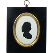 Georgian John Miers Painted Silhouette On Plaster With Trade Label Georgian Circa 1790s