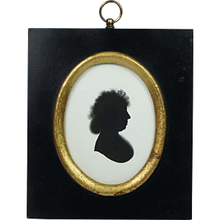 Antique John Miers Painted Silhouette On Plaster With Trade Label Georgian Circa 1790s
