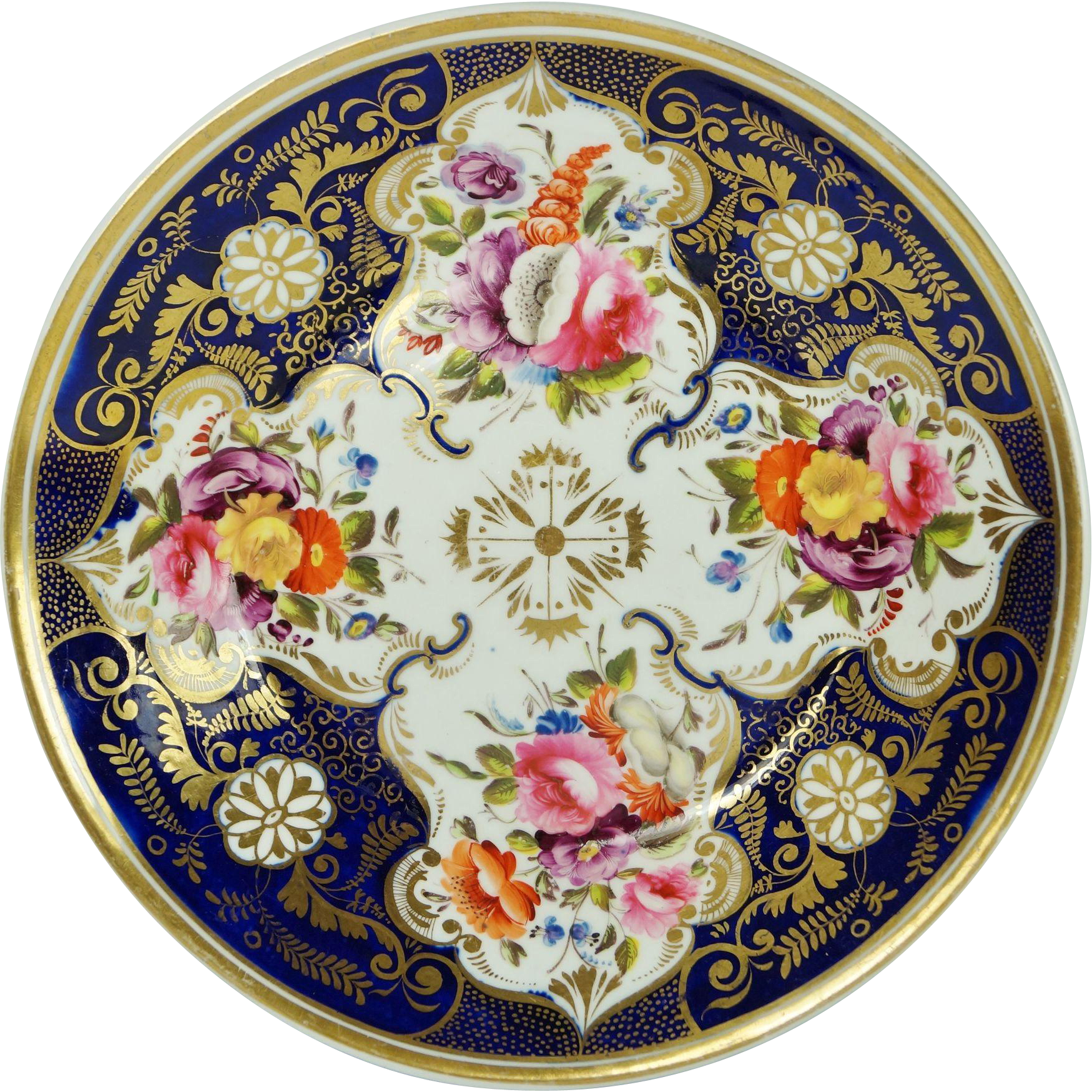 Antique Early Coalport Porcelain Desert Dish Cobalt Blue Florals English Circa 1820