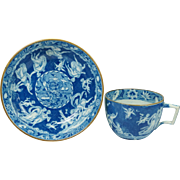 Antique Early Spode Blue and White Transferware Cup and Saucer Greek Mythology Love Chase Pattern Circa 1810