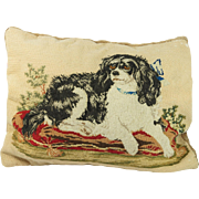 Antique 19th Century Dog Needlework Cushion Pillow Small Dash Queen Victoria's Spaniel Circa 1850