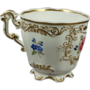 Antique 19th Century English Floral Porcelain Cup Copeland And Garrett Victorian Circa 1840