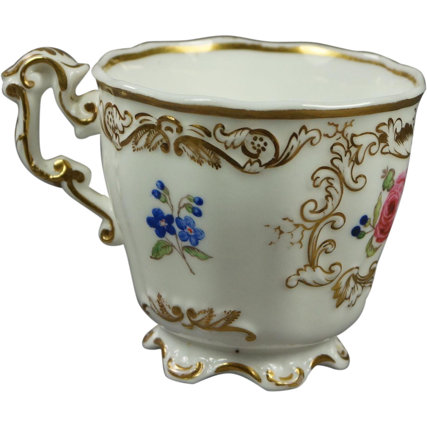 Antique 19th Century Cup English Floral Porcelain Copeland And Garrett Victorian Circa 1840