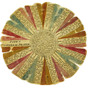 Antique Georgian Pocket Watch Paper of Colored Printed Silk Popes Universal prayer and the Lords Prayer RARE Circa 1790