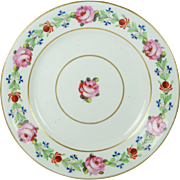 Georgian Derby Porcelain Plate Rose Border English Circa 1810