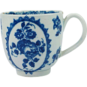 Antique Early Worcester Porcelain Cup Blue and White Fruit And Wreath Pattern Circa 1775 First Period Worcester